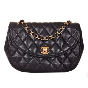 Chanel Black Half Moon Classic Flap Shoulder Bag